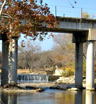round rock bridge & waterfall